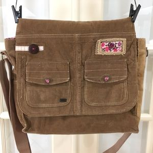 Roxy Brown Corduroy Messenger Laptop Crossbody 👜